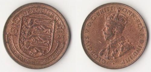 1923 Брит. Джерси 1/24 шиллинга (Георг V) AUNC (COINS NOTES)