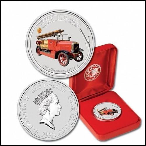 2006 Острова Кука $1 (Пожарная Машина LF15) 1 унция серебра, PROOF (COINS NOTES)
