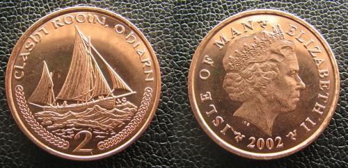 2002 Остров Мэн 2 пенса, UNC  (COINS NOTES)