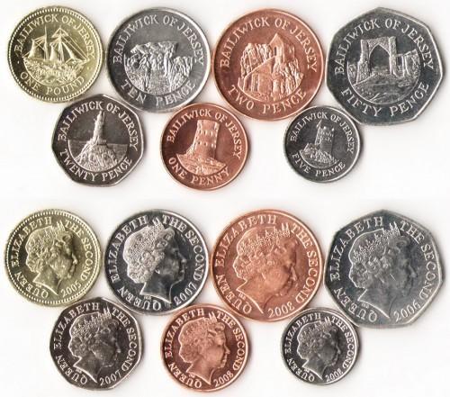 Джерси 7 монет, UNC (COINS NOTES)