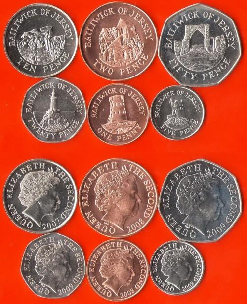 Джерси 6 монет, UNC (COINS NOTES)