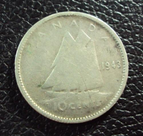 Канада 10 центов 1943 год.