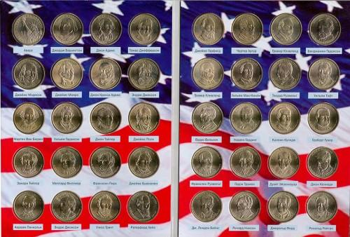 """США набор монет """"Президенты США"""" в альбоме"""