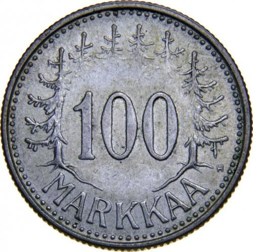 Финляндия 100 марок 1958 года UNC
