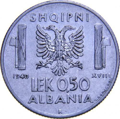 Албания (оккупация) 0,50  лека 1940 R года UNC