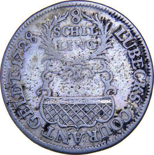 Германия, Любек 8 шиллингов (1/4 Thaler) 1728 JJJ года  XF