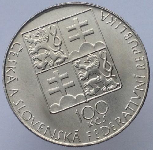 Чехо-Словацская Республика 100 крон 1990 года UNC
