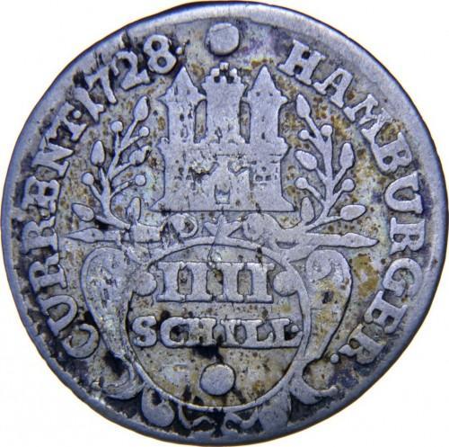 Германия, Гамбург 4 шиллинга 1728 IHL года  XF