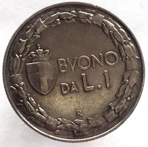 Итальянская Республика 1 лира  1924R  года   RR