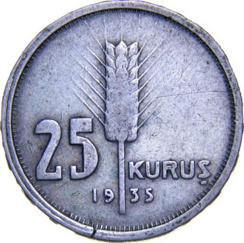 Турция 25 куруш 1935 года