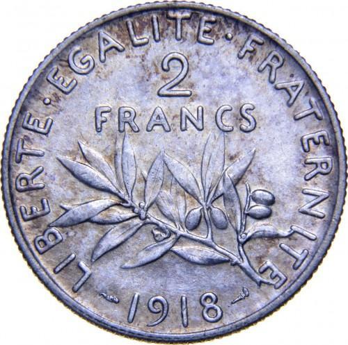 Франция 2 франка 1918 года BU