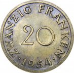 Саарленд, 20 франков 1954(а) года UNC