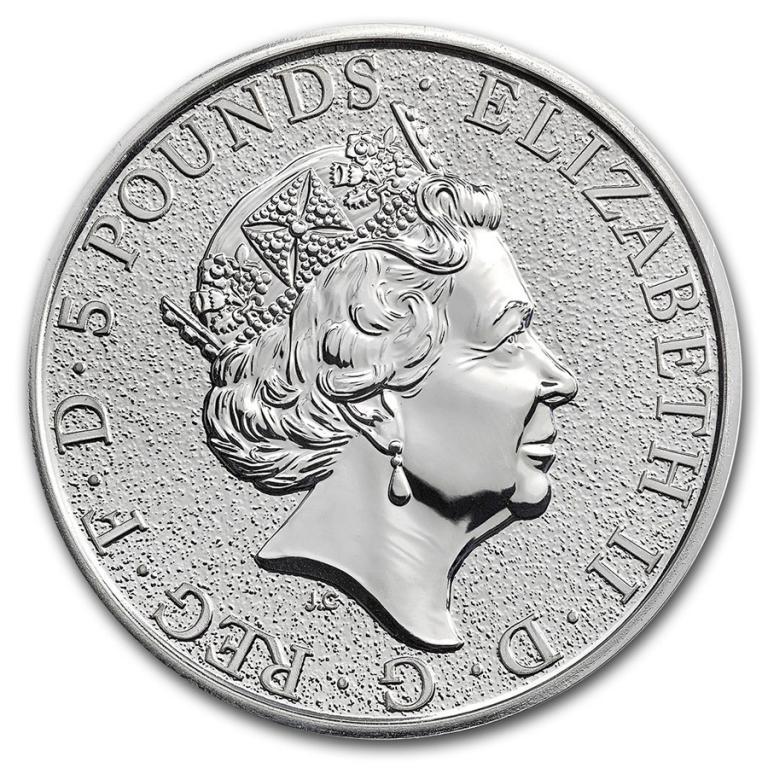 Великобритания 2016 Английский Лев 5 фунтов серебро (9999) 2 унции