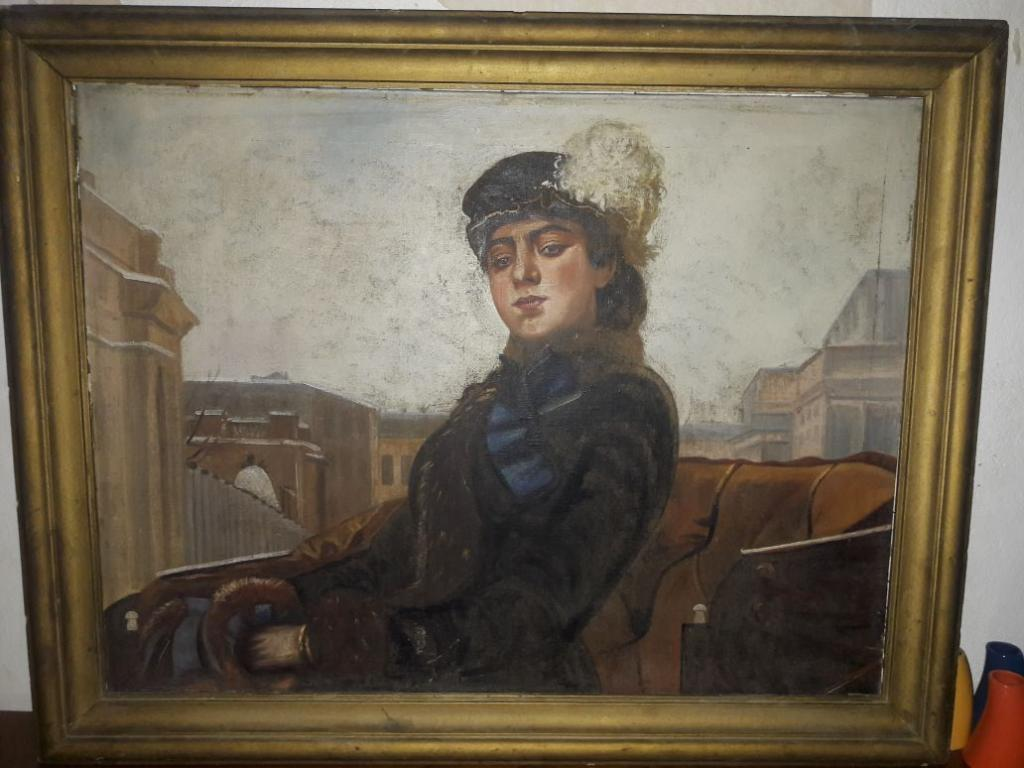 "Копия картины И.Крамского ""Неизвестная"" (Незнакомка), антиквариат"