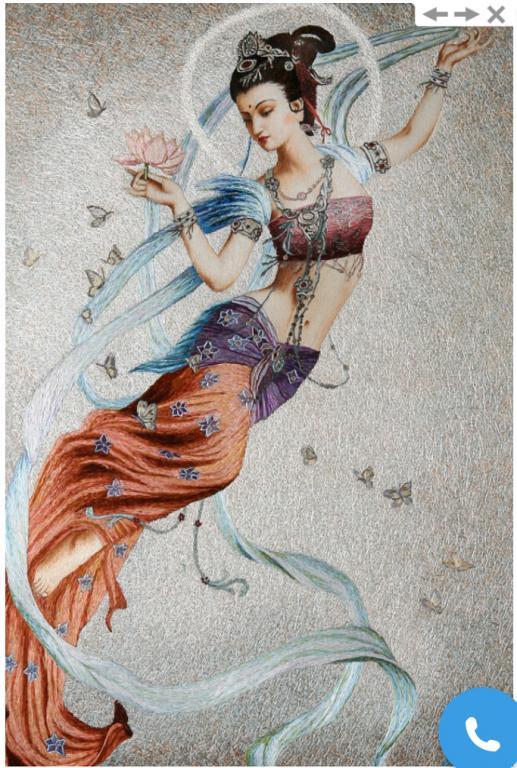 Картина вышитая шелком по шёлку « Даосская летящая Богиня Фея лотоса» (по мотивам художника Цын Хо)