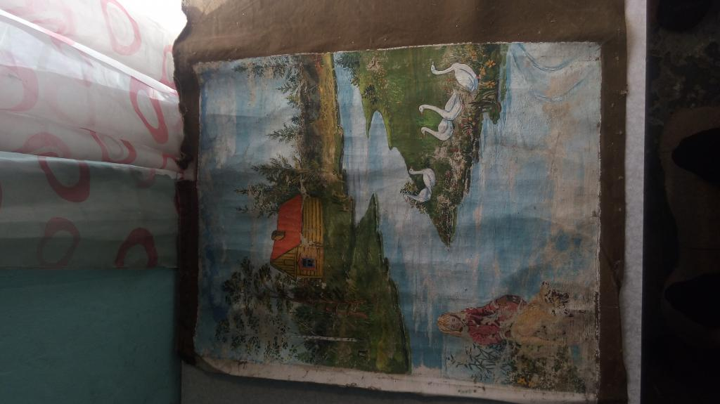Картина на холсте оригинал домик у реки