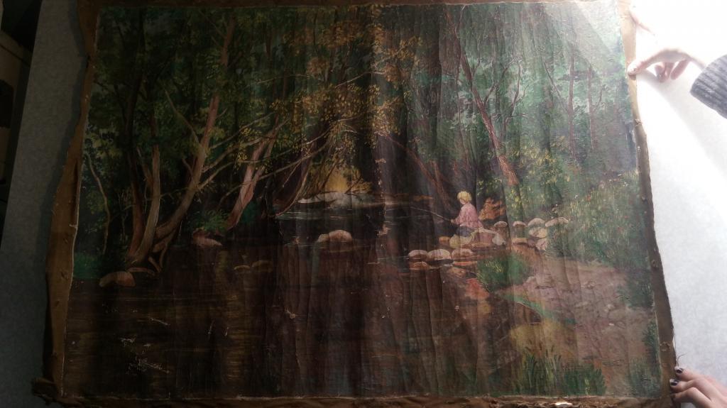 Рыбалка в лесу картина на холсте оригинал