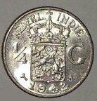 Нидерландская Восточная Индия 1/4гульдена 1942 ( серебро) !! UNC !!