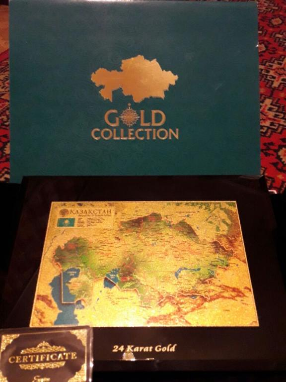 Настенное панно золотая карта Казахстана
