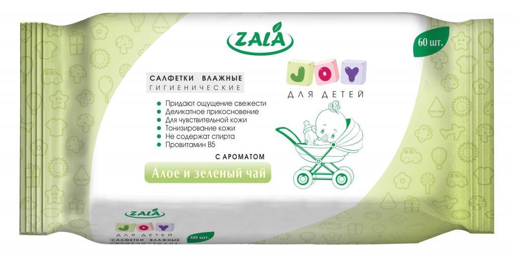 Салфетки влажные гигиенические ZALA «JOY» очищающие для детей с ароматом «Алоэ и зеленый чай» 60 шт.