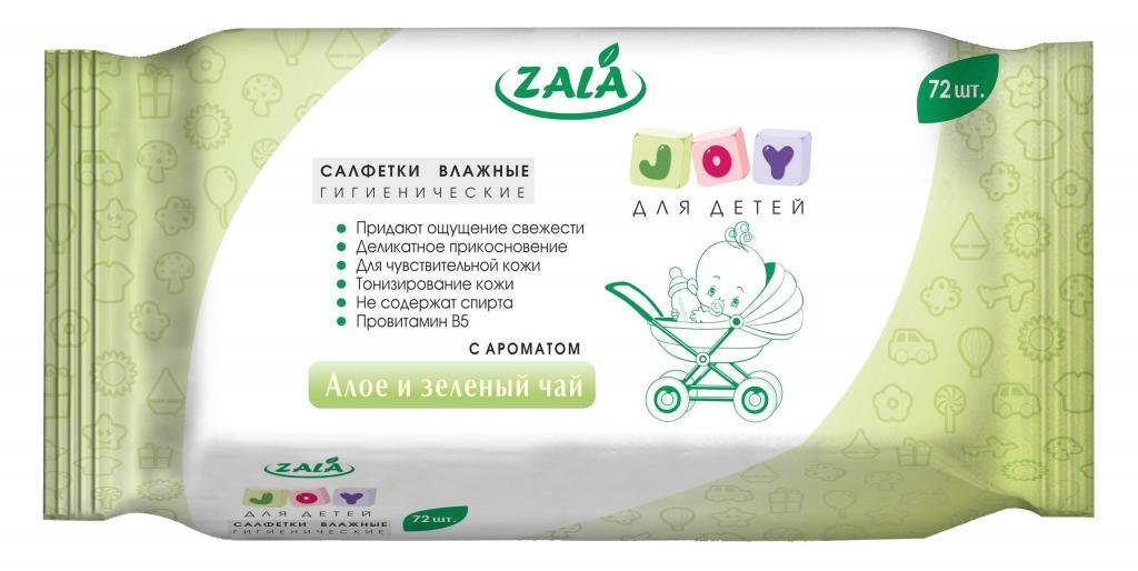 Салфетки влажные гигиенические ZALA «JOY» очищающие для детей с ароматом «Алоэ и зеленый чай» 72 шт.