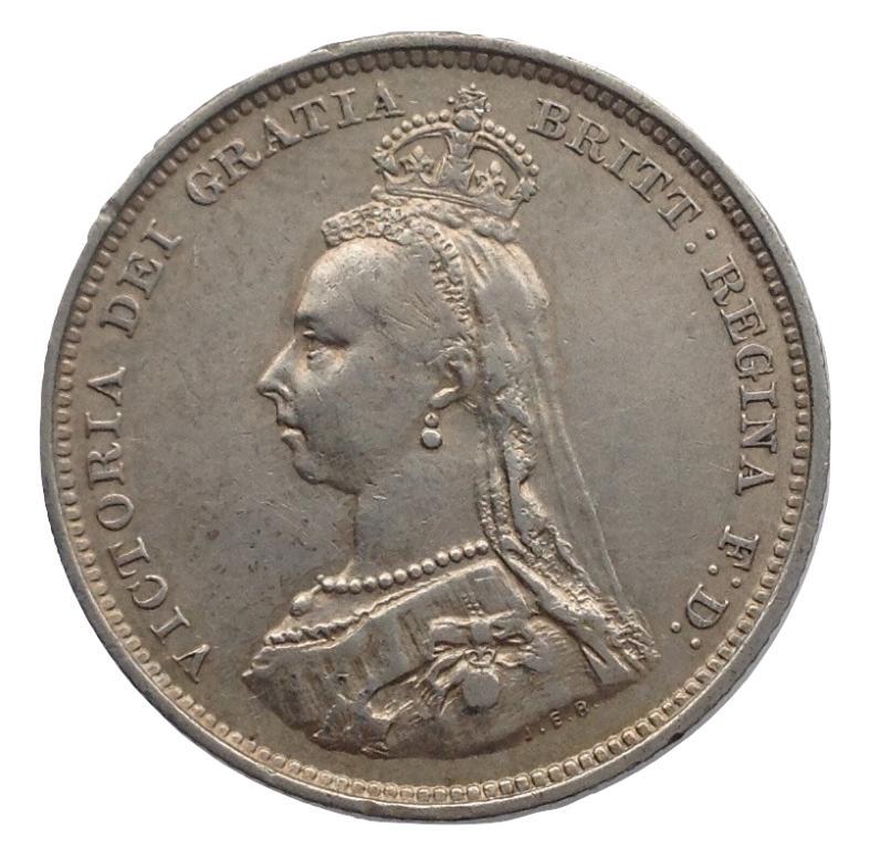 Великобритания 1 шиллинг 1887 года UNC  Victoria