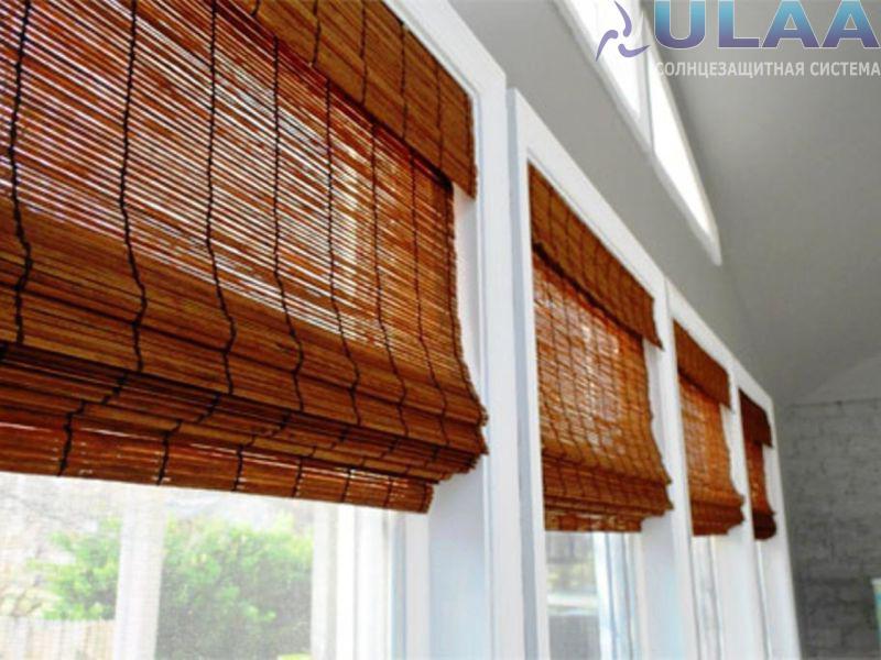 Бамбуковые полотна, жалюзи Алматы, рулонные и римские шторы