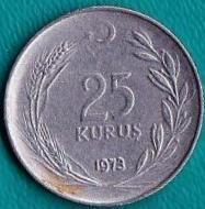 Турция 25 куруш 1973 год