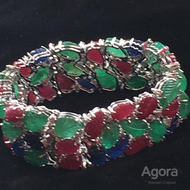Браслет на руку в стиле Тутти Фрутти, женский, белое золото, бриллианты, рубины, изумруды, сапфиры