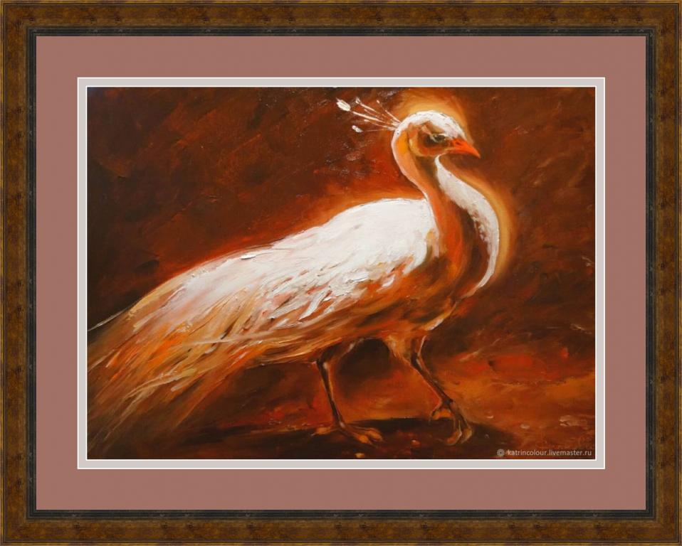 Картина маслом Священный _ авторские картины Katrincolour_ павлин_живопись маслом
