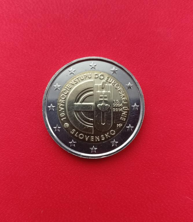 Словакия 2 евро 2014 г. 10 ЛЕТ В ЕВРОСОЮЗЕ