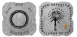 Казахстан 500 тенге 2012 г Петроглифы ТАМГАЛЫ СЕРЕБРО 925 пр. позолота. 24 гр.