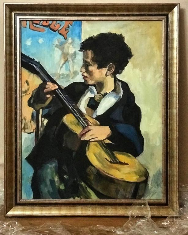 Живопись, масло. Мальчик с гитарой. Формат 82 х 60 см.