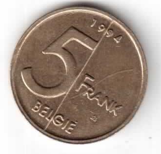 Бельгия 5 франков 1994 года надпись на голландском - 'BELGIE'