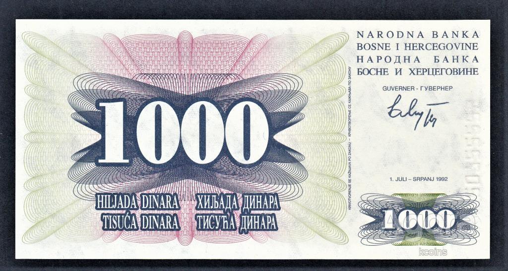 Босния и Герцеговина 1000 динар 1992 год.