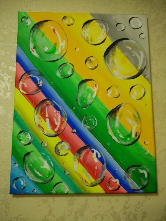 Картина. Радуга и пузыри.