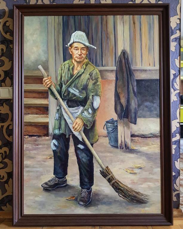 Портрет Абылхана Кастеева. Холст, масло, 2019г, 130×90