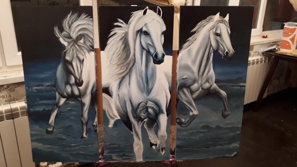 Лошади картина трио