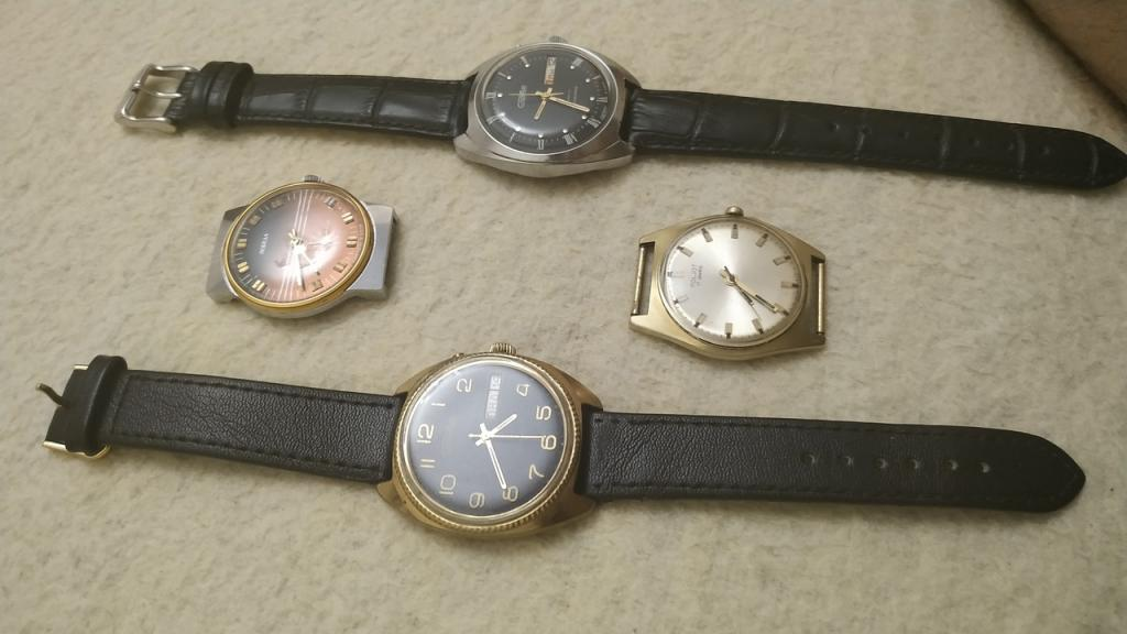 Часы наручные производство СССР, обслужены, на ходу все, отличное состояние