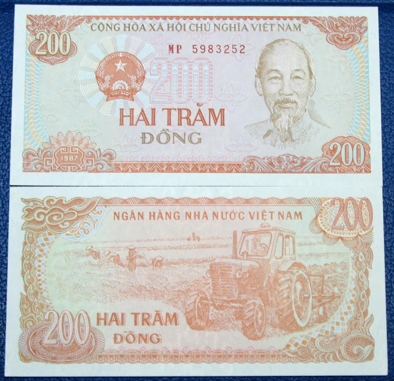 Вьетнам  200 донгов  1987 г.  UNC!