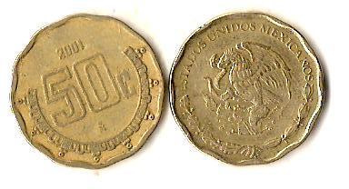 Мексика 50 сентаво, 2001