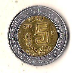 Мексика 5 песо, 2011