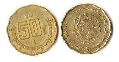 Мексика 50 сентаво, 1993