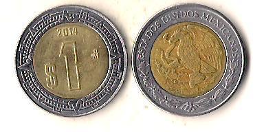 Мексика 1 песо, 2014