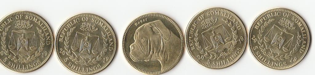 "Республика Сомалиленд 5 шиллингов 2019 года UNC  "" Собаки"""