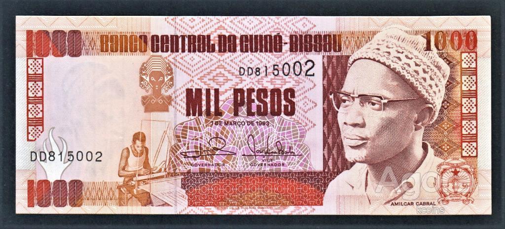 Гвинея-Биссау 1000 песо 1993 год.