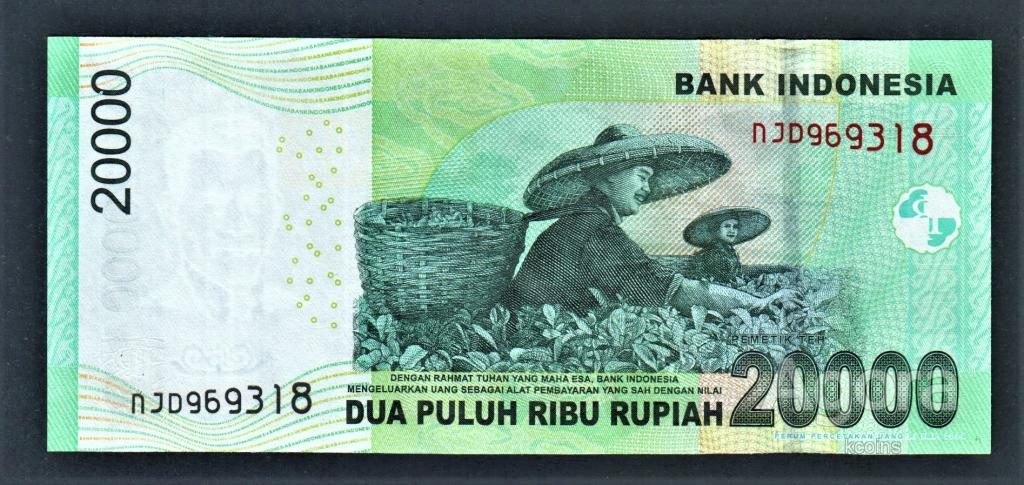 Индонезия 20000 рупий 2015 год.
