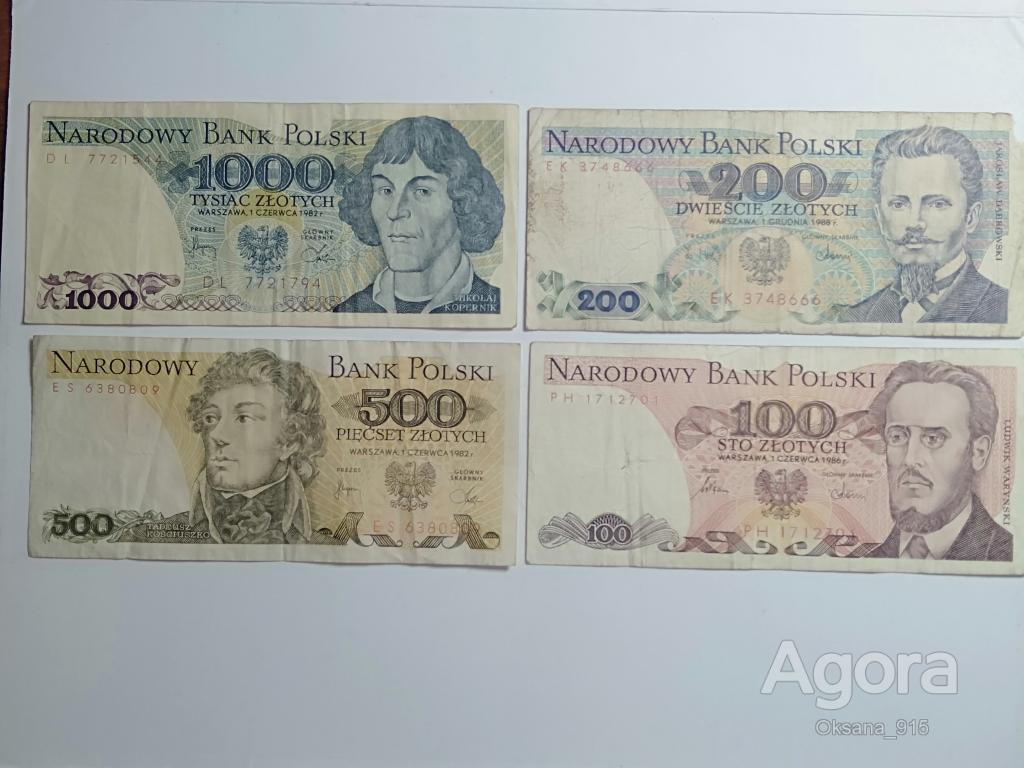 Польша, лот банкнот 20 штук, 1000,500,200,100 злотых, 1982, 86, 88 год. Из обращения.
