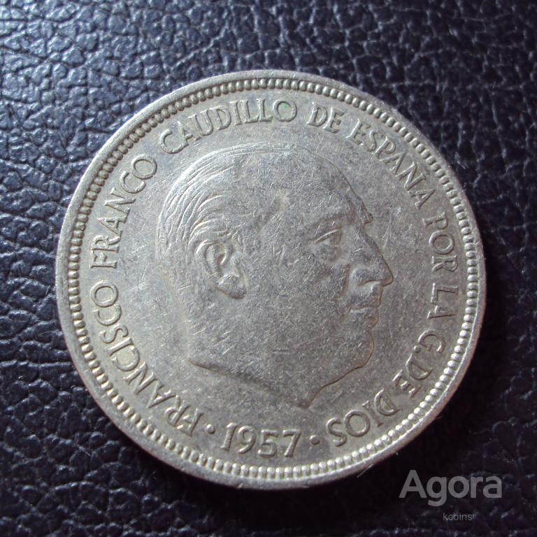 Испания 5 песет 1957(1969) год.