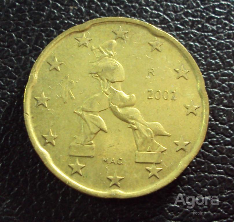 Италия 20 центов 2002 год.